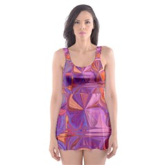 Candy Abstract Pink, Purple, Orange Skater Dress Swimsuit