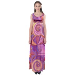Candy Abstract Pink, Purple, Orange Empire Waist Maxi Dress