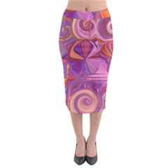 Candy Abstract Pink, Purple, Orange Midi Pencil Skirt