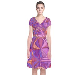 Candy Abstract Pink, Purple, Orange Short Sleeve Front Wrap Dress