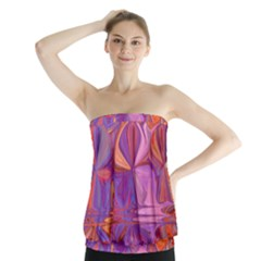 Candy Abstract Pink, Purple, Orange Strapless Top