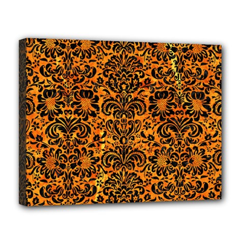 Damask2 Black Marble & Orange Marble (r) Canvas 14  X 11  (stretched)