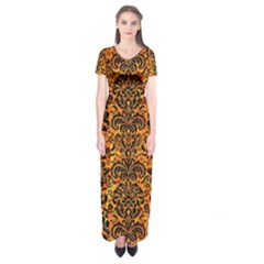 Damask2 Black Marble & Orange Marble (r) Short Sleeve Maxi Dress