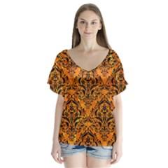 Damask1 Black Marble & Orange Marble (r) V Neck Flutter Sleeve Top