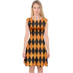 Diamond1 Black Marble & Orange Marble Capsleeve Midi Dress