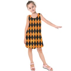 DIA1 BK-OR MARBLE Kids  Sleeveless Dress