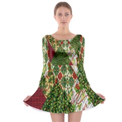 Christmas Quilt Background Long Sleeve Skater Dress