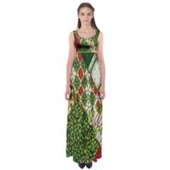 Christmas Quilt Background Empire Waist Maxi Dress
