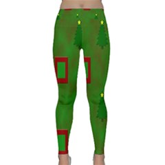 Christmas Trees And Boxes Background Classic Yoga Leggings