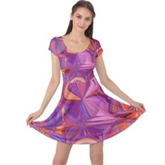 Candy Abstract Pink, Purple, Orange Cap Sleeve Dresses