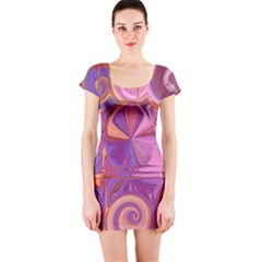 Candy Abstract Pink, Purple, Orange Short Sleeve Bodycon Dress