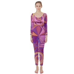 Candy Abstract Pink, Purple, Orange Long Sleeve Catsuit