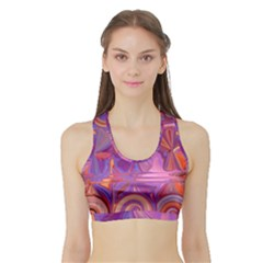 Candy Abstract Pink, Purple, Orange Sports Bra With Border
