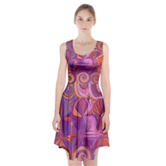 Candy Abstract Pink, Purple, Orange Racerback Midi Dress