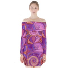Candy Abstract Pink, Purple, Orange Long Sleeve Off Shoulder Dress