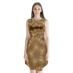 Elegant Gold Brown Kaleidoscope Star Sleeveless Chiffon Dress
