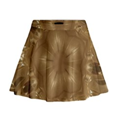 Elegant Gold Brown Kaleidoscope Star Mini Flare Skirt