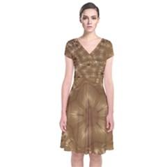 Elegant Gold Brown Kaleidoscope Star Short Sleeve Front Wrap Dress