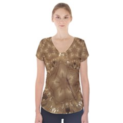Elegant Gold Brown Kaleidoscope Star Short Sleeve Front Detail Top