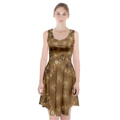 Elegant Gold Brown Kaleidoscope Star Racerback Midi Dress