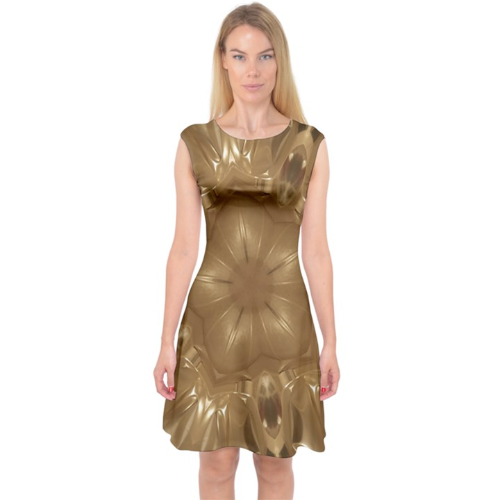 Elegant Gold Brown Kaleidoscope Star Capsleeve Midi Dress