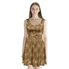 Elegant Gold Brown Kaleidoscope Star Split Back Mini Dress