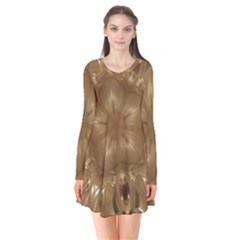 Elegant Gold Brown Kaleidoscope Star Flare Dress