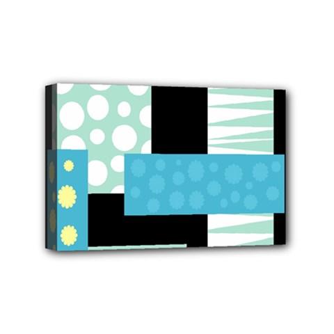 Blue Collage Mini Canvas 6  X 4