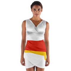 Dachshund Germany Flag Silhouette Wrap Front Bodycon Dress