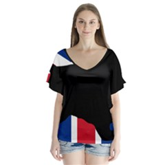 English Cocker Spaniel Silhouette United Kingdom Flutter Sleeve Top