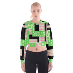 Green and pink collage Women s Cropped Sweatshirt