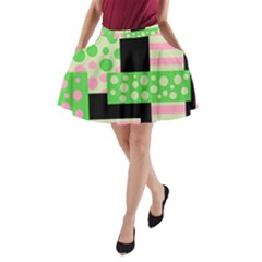 Green And Pink Collage A Line Pocket Skirt