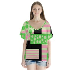 Green And Pink Collage Flutter Sleeve Top