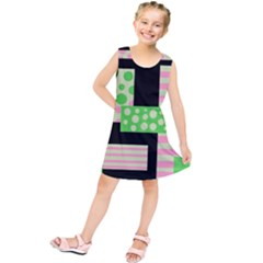 Green and pink collage Kids  Tunic Dress