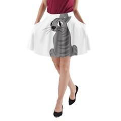 Gray Cat A Line Pocket Skirt