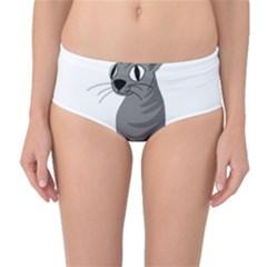 Gray Cat Mid Waist Bikini Bottoms
