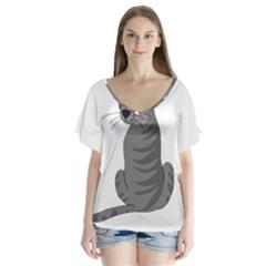 Gray Cat Flutter Sleeve Top