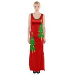 Christmas Trees  Maxi Thigh Split Dress