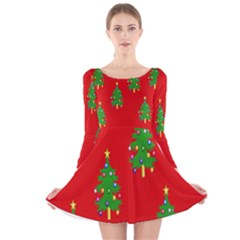 Christmas Trees  Long Sleeve Velvet Skater Dress