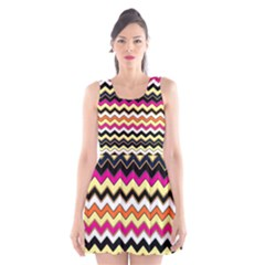 Colorful Chevron Pattern Stripes Scoop Neck Skater Dress