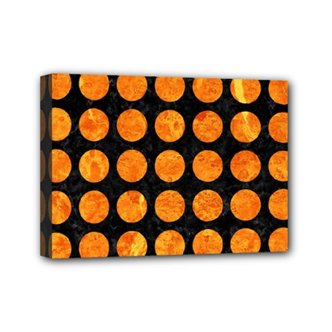 Circles1 Black Marble & Orange Marble Mini Canvas 7  X 5  (stretched)