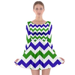 Blue And Green Chevron Long Sleeve Skater Dress