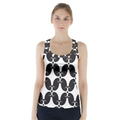 Black Flower Accents Racer Back Sports Top