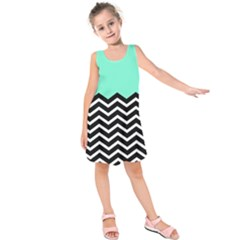 Blue Chevron Kids  Sleeveless Dress