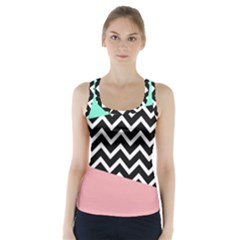 Chevron Green Black Pink Racer Back Sports Top