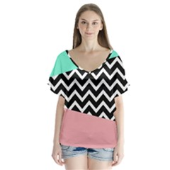 Chevron Green Black Pink Flutter Sleeve Top