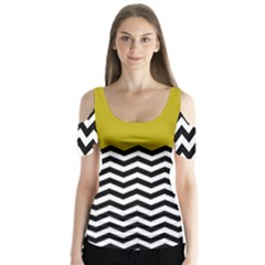 Colorblock Chevron Pattern Mustard Butterfly Sleeve Cutout Tee