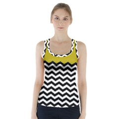 Colorblock Chevron Pattern Mustard Racer Back Sports Top