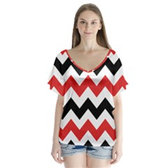 Colored Chevron Printable Flutter Sleeve Top
