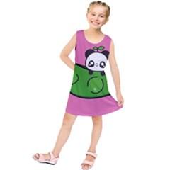 Edamame Panda Pink Cute Animals Kids  Tunic Dress